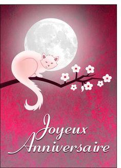 """""""Un chat blanc, sur une branche d'arbre au clair de lune."""" Joyeux Anniversaire."""