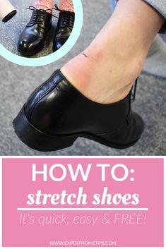 Are your shoes tight? If you need a solution, fast, you've come to the right place. We've shared our favourite way of stretching shoes so now you can make them Stretch Leather Shoes, Leather Clogs, Stretch Shoes, How To Strech Shoes, How To Stretch Boots, Prevent Blisters, How To Soften Leather, Get Skinny, Hacks