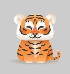 New Year Symbols, Seasons Activities, Cute Tigers, Tigger, Vector Free, Disney Characters, Illustration, Cover, Artwork