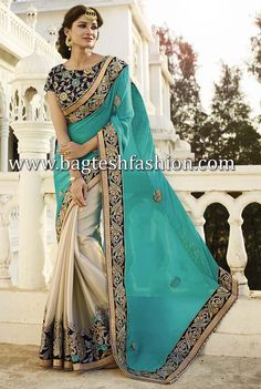 Half N Half Turquoise Blue And Light Beige Saree