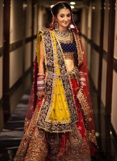 Zardosi Work Red Lehenga with Yellow Dupatta