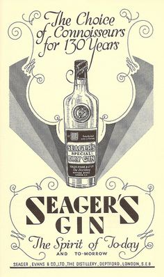 Seager's Gin advert in Wine & Food magazine, 1935 by mikeyashworth, via Flickr -like the line border