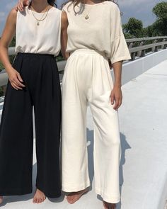 The Ilana Kohn Caroline Pants in Natural Terry features a lightly pleated elastic waist band, slightly cropped and wide legs. 100 % Cotton French Terry Made in New York Mode Outfits, Fashion Outfits, Womens Fashion, Fashion Tips, Petite Fashion, Ladies Fashion, Fashion Styles, Hijab Fashion, Fashion Trends