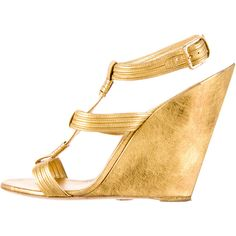 Pre-owned Yves Saint Laurent Wedge Sandals ($200) ❤ liked on Polyvore featuring shoes, sandals, gold, wedge heel sandals, genuine leather shoes, pre owned shoes, wedge sandals and leather sandals