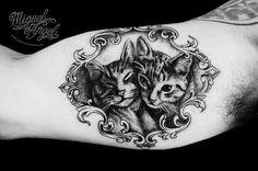 Custom Victorian frame and cats portrait tattoo