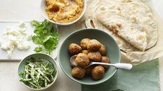 Sweet potato falafel with sweet potato hummus recipe - BBC Food Beetroot Hummus Recipe, Falafel Recipe Bbc, Hummus Ingredients, Sweet Potato Hummus, Fresh Coriander, Meals For One, Tray Bakes, Cooking Time, Food Hacks
