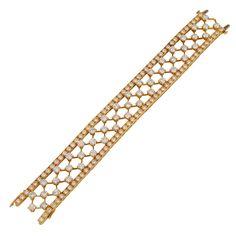 VAN CLEEF & ARPELS Diamond Gold Snowflakes Bracelet | From a unique collection of vintage modern bracelets at http://www.1stdibs.com/jewelry/bracelets/modern-bracelets/