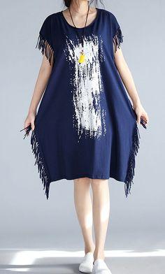 Women loose fitting over plus size brush paint dress tunic tassel fashion chic Chic Dress, Dress Casual, Casual Dresses For Women, Clothes For Women, Hijab Fashion, Boho Fashion, Fashion Outfits, Hijab Stile, Bohemian Mode