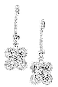18K White Gold Diamond Dangle Earrings - 1.30 ctw