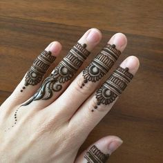 I wanted to do my fingers only, and I ended up with these @mehndikajoeyhenna inspired finger desig...