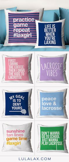 Showcase your love for your sport with these fun lacrosse throw pillows that celebrate the #lacrosselife!