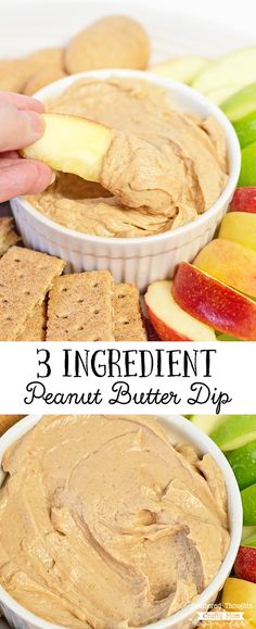 This 3 Ingredient Peanut Butter Dip is so yummy, both kids and adults will polish it off in the blink of an eye! Plus with only 3 ingredients, you can put this easy fruit dip recipe together in just a few moments and makes a great protein packed appetizer or snack.