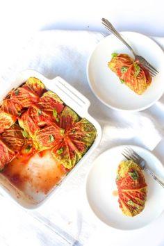 Cabbage Rolls with Wild Rice & Mushroom Stuffing