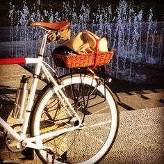 My daily being rad in front of a fountain. French sourdough loaves in the basket.