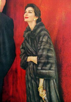 Carmen in Emba mink coat by Ritter Bros., jewelry by Cartier, photo by Virginia Thoren, 1957
