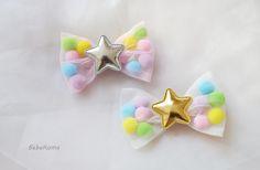 tulle bow with pom pom hair clip :) http://www.bebekoma.com/shop/tulle-bow-hair-clip