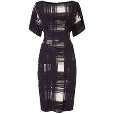 Phase Eight Joan Check Dress, Navy/Ivory (£65) ❤ liked on Polyvore featuring dresses, long-sleeve mini dress, short sleeve maxi dress, short-sleeve maxi dresses, sleeved maxi dress and long-sleeve midi dresses