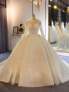 Sparkling Shinny Lone Sleeves Lace-Up Ball Gown Wedding Dresses- # Ball . - Sparkling Shinny Lone Sleeves Lace-Up Ball Gown Wedding Dresses- # Ball - Viking Wedding Dress, Wedding Dress Black, Top Wedding Dresses, Wedding Dress Trends, Princess Wedding Dresses, Tulle Wedding, Wedding Dress Sparkle, Beauty And The Beast Wedding Dresses, Wedding Bouquets