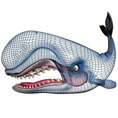 monstro the whale   Animals - Monstro Cartoon Whale Rigged