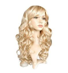 [Visit to Buy] QQXCAIW Long Curly Women Ladies Party Natrual Blonde 65 Cm Synthetic Hair Wigs #Advertisement