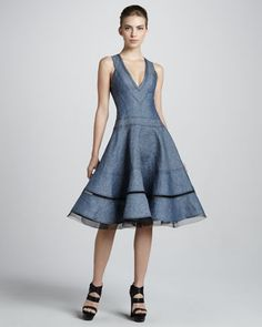 Denim and tulle dress with contrast top stitching, v-neck front, paneled skirt, jersey panel back *see separate pin for back view*
