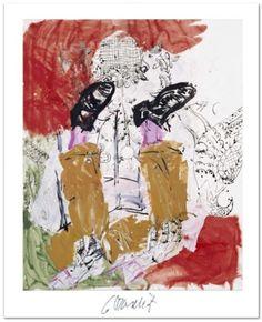 "Georg Baselitz: ""Volkskunst Ekely"", 2011, Kunstdruck, vom Künstler handsigniert, Format: 64 x 49,5 cm."