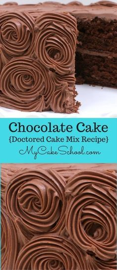 Delicious and Easy Chocolate Cake- A Doctored Cake Mix Recipe. Perfect for cupcakes also! From My Cake School's Cake Recipe Section. via @mycakeschool