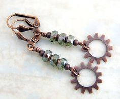 Steampunk Gear Earrings in Green - copper gears and faceted Picasso beads - Steampunk Jewelry #steampunk