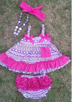 """THE GIRLY GIRL AZTEC SWING TOP SET  Price $29.99, Free Shipping Options: 0/6M, 6/12M, 12/18M, 18/24M To purchase, comment """"Sold"""", size & EmaiL"""