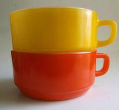 Lot 2 vintage mod bright Orange Yellow Anchor Hocking Ovenware Chili bowls 303 in Pottery & Glass, Glass, Glassware   eBay
