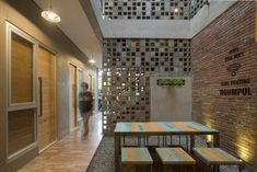 Image 1 of 23 from gallery of Bioclimatic and Biophilic Boarding House / Andyrahman Architect. Photograph by Mansyur Hasan Shipping Container Home Designs, Container House Design, Boarding House, Student House, Best Kitchen Designs, Surabaya, Facade House, Tropical Houses, Küchen Design