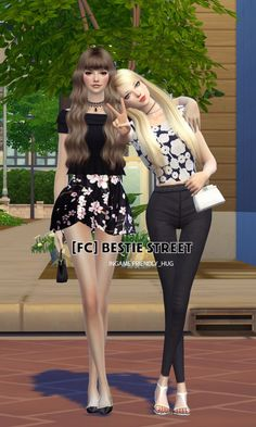 Flower Chamber: Bestie Street Couple Poses Set • Sims 4 Downloads