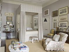 An Old World sensibility marries a contemporary aesthetic—chintz and sea grass, a sleek lamp and a canopy bed—with results that are glamorous and luxurious, but never glitzy.   - Veranda.com
