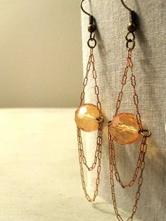 Repurposed Vintage Jewelry Earrings - Copper Chain and Glowing Peach Glass Bead Chandeliers