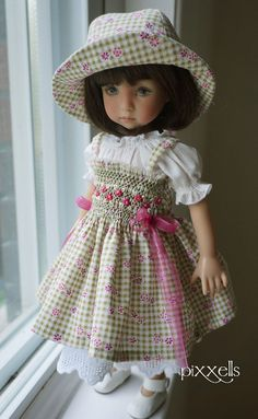 """Tiny Checks Smocked for Dianna Effner 13"""" Linda Macario, Connie Lowe by pixxells"""
