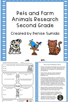 This is a great note taking lesson to teach about pet and farm animals. Research question boxes are: Basic Facts, Habitat, Food, Life Cycle, and Fun Facts. Animal note taking sheets include: Cats, Dogs, Ferrets, Hamsters, Hermit Crabs, Birds, Fish, Rabbits, Turtles, Chickens, Cows, Donkeys, Goats, Horses, Pigs, and Sheep. A blank note taking page for customization is also provided.