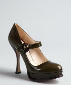 Prada military green shined leather buckle flared heel platform mary janes