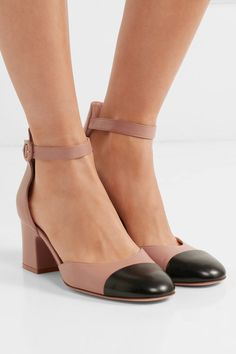 Gianvito Rossi - Two-tone Leather Mary Jane Pumps - Beige - IT39.5