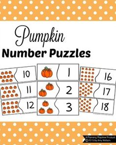 Pumpkin Number PuzzleThese cute Pumpkin Number Puzzles are perfect for children…