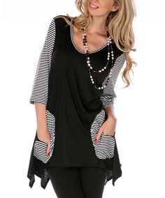 Black & White Color Block Sidetail Tunic | zulily