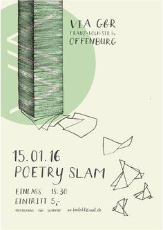 poster illustration, hand drawn, poetry slam