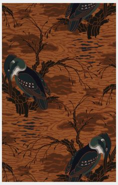 Sidewall sample   France, 1929-1930   Machine-printed paper   Kingfisher seated on branch amid stylized water. Printed in dark green, light green, black, white and grey on a dark orange ground   Cooper-Hewitt
