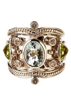 Aquamarine, Peridot & White Topaz Tuscany Ring ...wow