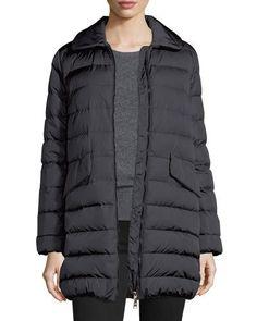 MONCLER Indis Fur-Collar Puffer Jacket, Charcoal. #moncler #cloth #