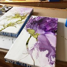 Botanical art by Alicia Tormey. Alicia T.tormey on. - Botanical art by Alicia Tormey. Alicia T.tormey on. Alcohol Ink Crafts, Alcohol Ink Painting, Alcohol Ink Art, Pour Painting, Acrylic Pouring Art, Acrylic Art, Wall Canvas, Canvas Art, Motif Art Deco