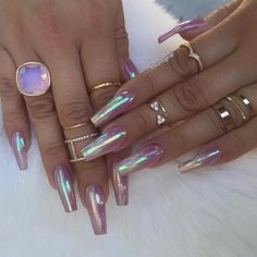 These are my nails everyday with my opal strips but much shorter. Hot Nails, Hair And Nails, Gorgeous Nails, Pretty Nails, Amazing Nails, Crome Nails, Nagel Bling, Holographic Nails, Nagel Gel
