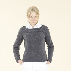 The Sublime Boat neck sweater in gorgeous Smithy grey with a rope cable. Made using Sublime natural aran - a 100% wool yarn spun for Sublime in England