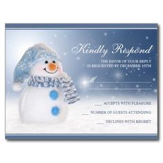 Snowman Holiday Party RSVP Postcard