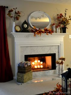 A mantel fit for Fall (+ spray painted mirror) - The Frugal Homemaker | The Frugal Homemaker
