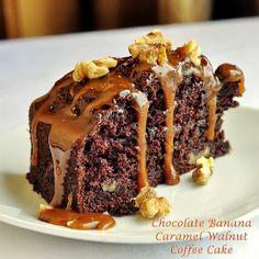 Chocolate Banana Caramel Walnut Coffee Cake